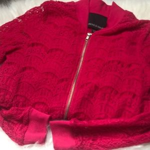 Hot Pink Lace Bomber Jacket Nordstrom Gently Used